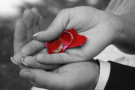 wedding rings resting within a married couple's hands