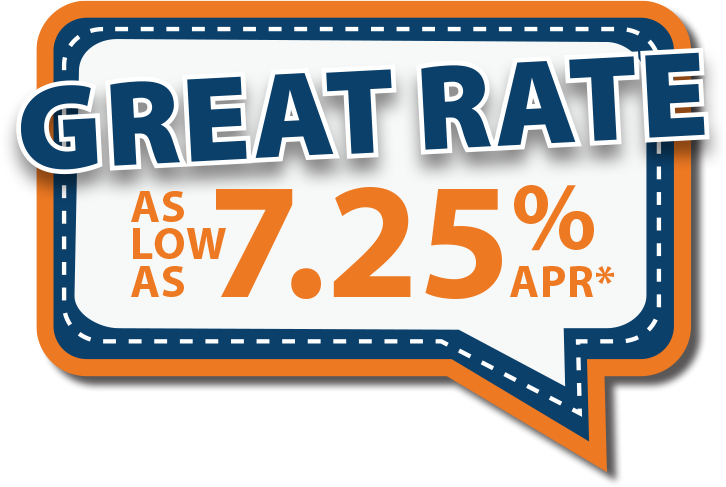 Great rate as low as 7.25% APR*!